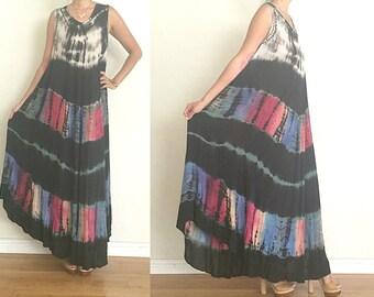 vtg Black Multi Color Tie Dye INDIA ETHNIC EMBROIDERED Boho Maxi Dress M