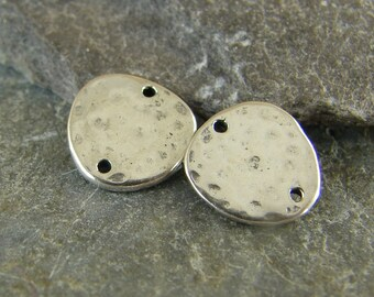 Tiny Hammered Artisan Links - Sterling Silver Links - Hammered Sterling Links - One Pair - lthal