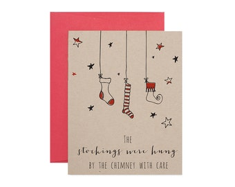Letterpress Holiday Card - Christmas Stockings - Greeting Card Stationery