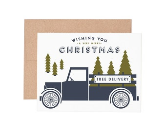 Christmas Tree Delivery Letterpress Greeting Card - Holiday Cards | Christmas Cards | Greeting Cards | Letterpress Cards