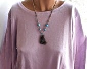 Anasazi Pottery Shard Wire Wrapped Silver and Turquoise Necklace