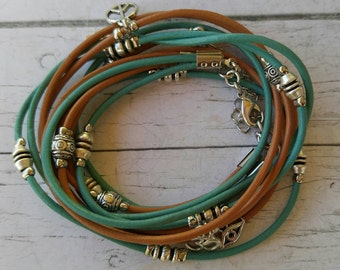Wrap Bracelet - Multistrand Leather Bracelet - Turquoise Armlet - Choose FOUR Charms - Customizable - Best Friend Gift - Best Selling Item