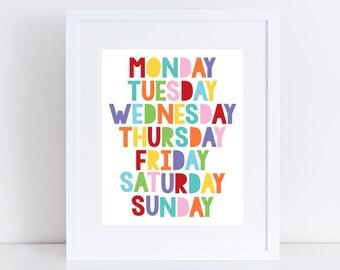 colourful days of the week art - play room print, nursery wall art, childrens educational artwork, kids decor, baby, girl boy gender neutral