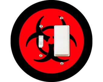 Biohazard Sign Toggle and Decora Rocker Switch Plate Cover