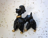 Black Poodle Brooch - Repro Pin - 1940s - 1950s