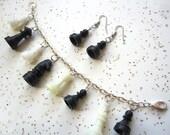 Novelty Chess Charm Bracelet Earrings Set - Handmade Jewelry Set - Miniature Chess Pieces - OOAK