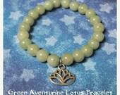 ON SALE Green Aventurine, Lotus Bracelet,Gemstone Bracelet, Kuan Yin