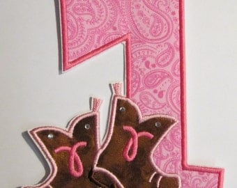 Western Birthday Number with Boots - Iron On or Sew On Embroidered Custom Made Applique - Ships FAST