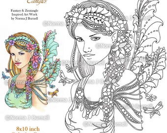 Fairy Tangles Printable Coloring Pages by Norma J Burnell  Fairy Coloring Book Pages Printable Coloring sheets Digital Coloring for Grownups