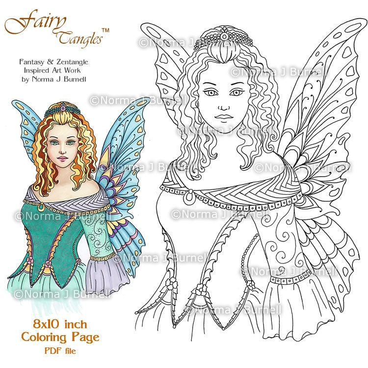 Fairy Queen Fairy Tangles Printable Coloring Pages by Norma J