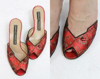1980s Maud Frizon Shoes Size 6  / Lace Metallic Mules Slides  /  Undercover Peep Toe Pump