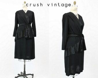 40s Dress Peplum Large Plus / 1940s Vintage Dress Rayon Wrap / Black Satin Sash Dress