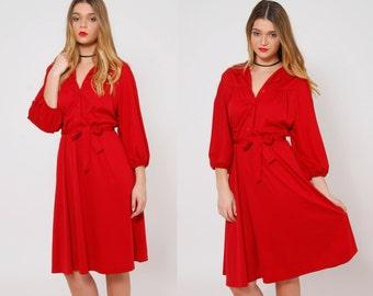 Vintage 70s BLOUSON Dress Burnt Sienna Secretary Dress Hipster Shirt Dress BELTED Midi Dress