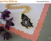 SALE Druzy Necklace Gold, Geode Necklace, Crystal Necklace, Gold Geode Slice Druzy, GG22