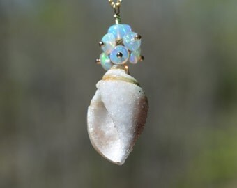 Druzy Seashell Fossil with Ethiopian Opal Necklace