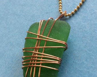 "Green Sea Glass Pendant With Copper Wire Wrap 14K Gold Filled Ball Chain 16"" Chesapeake Bay Beach Sea Glass Maryland"