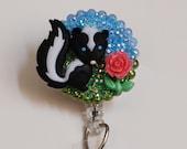 Sweet Smelling Skunk ID Badge Reel - Retractable ID Badge Holder - Zipperedheart