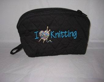 Knitting Notions Bag - Embroidered - Zippered with wristlet  - I (heart) Knitting embroidered with variegated thread