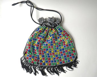 60s vintage Multicolor Beaded Drawstring Purse with Fringe