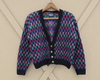 80s/90s vintage Oversized Colorful Patterned Cropped Mohair Blend Knit Cardigan Sweater