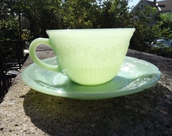 """SALE  1940s Fire King  Anchor Hocking Jadeite """"Alice"""" pattern  Tea Cup and Saucer"""
