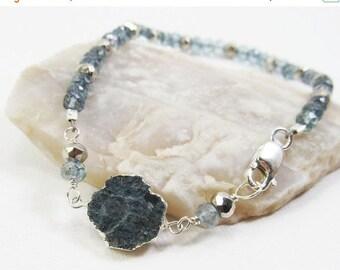 SUMMER SALE Blue Tourmaline, Quartz, and Silver Pyrite Gemstone . Sterling Silver Layering Bracelet . Teal Blue, Aqua Blue, Metallic Silver
