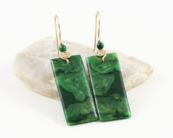 African Jade and Malachite Gemstones .14k Gold filled Dangle Drop Earrings . Marbled Forest Green . E16140