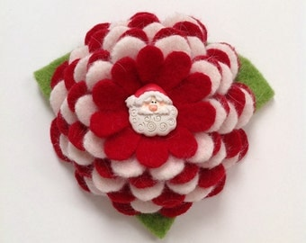 Wool Flower Brooch Pin in Red and White - Here Comes Santa Claus
