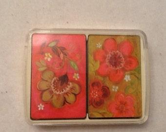 Vintage Playing Cards 2 Decks Mid Century Plastic Case Floral United States Playing Card Company Ephemera