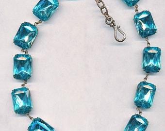 ANNA WINTOUR STYLE vintage czech glass necklace  18x13mm stones--sale!