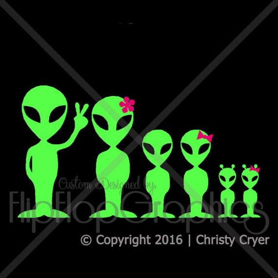 Alien Family Sticker, Vinyl Graphic