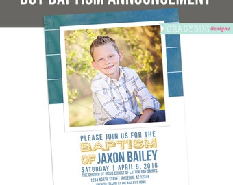 LDS Baptism Invitation, Boys Baptism Announcement, Stripes, Great to be 8, Photoshop File, customization available read in description