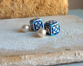 Portugal  Antique Azulejo Tile Replica FRONT BACK Earrings with pearl studs from Cartaxo-   (see facade photo) 417 FB