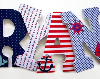 Nautical Wood Letters - Nursery Letters - Boys Nautical Nursery Decor
