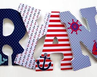 Nautical Wood Letters - Nursery Letters - Boys Nautical Nursery Decor - Wood Wall Letters Baby Room - Baby Nursery Letters Baby Shower Whale