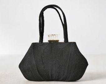 Vintage 1940s Black Corde Evening Formal Handbag Purse / Lucite Closure / Black Corde Bag / Corde Clutch  / Noir