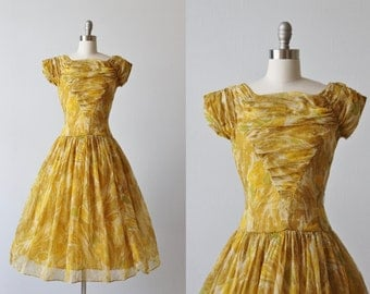 1950s Dress / Party Dress / Formal Lace / Chiffon / Golden Hues