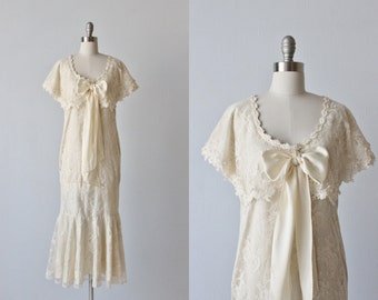 Jessica McClintock Lace Flapper Wedding Dress / Shawl Collar / Off White Cream / 1920s Wedding Dress