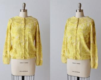 1950s Darlene Angora Novelty Sweater / Cardigan Sweater / Pearl Buttons / Sunshine