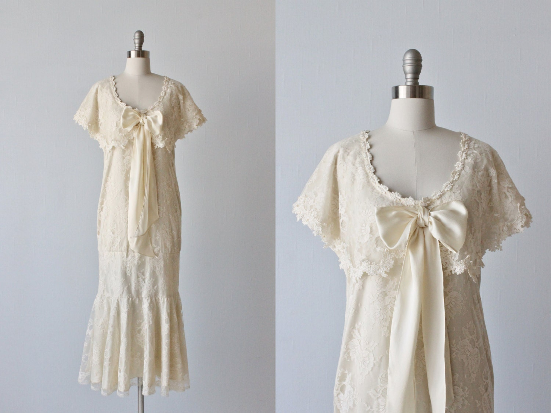 Jessica McClintock Lace Flapper Wedding Dress Shawl Collar