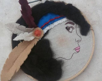 Hand Embroidery Hoop Art - Indian Girl Wall Hanging - 3D Wall Decor- Ready To Ship