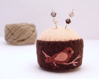 Miniature Felt Bottle Cap Pincushion
