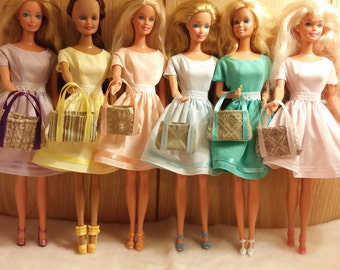 Pretty little dresses for Barbie in pastels