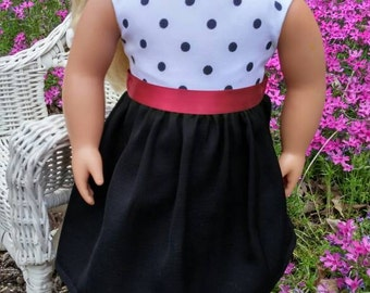Polka dot party dress for 18 inch doll