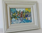 Original framed acrylic still life painting, shabby white frame, turquoise and yellow, garden flowers, French Country decor, gift idea
