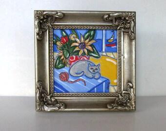 Framed Gray Cat Painting, acrylic on canvas, Still Life, Sailboat, gift idea