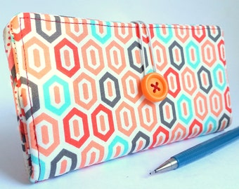Geometric Checkbook Cover in Tangerine Orange Aqua Red Fabric Handmade Wallet -  Modern Geo