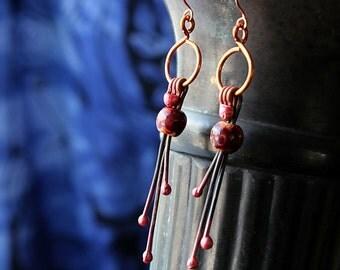 Copper Wire Earrings, Artisan Jewelry, Celtic Tribal Jewelry