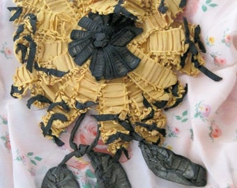 Vintage Ribbon Work Applique Flapper Lame 1920s