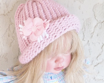 Dusty Rose Cloche Child's  Hat  1 to 5 Years Size Ready to Ship